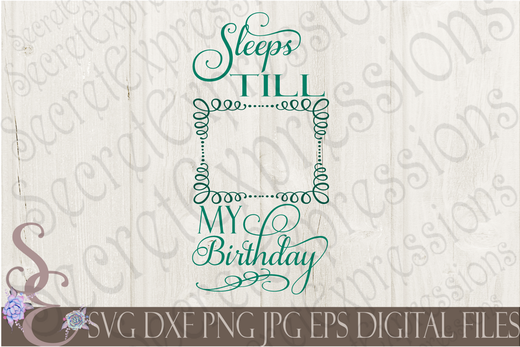 Sleeps Till My Birthday Svg, Kid, Digital File, SVG, DXF, EPS, Png, Jpg, Cricut, Silhouette, Print File