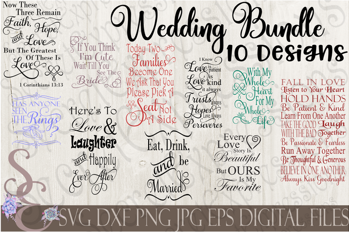 Wedding SVG Bundle, Digital File, SVG, DXF, EPS, Png, Jpg, Cricut, Silhouette, Print File