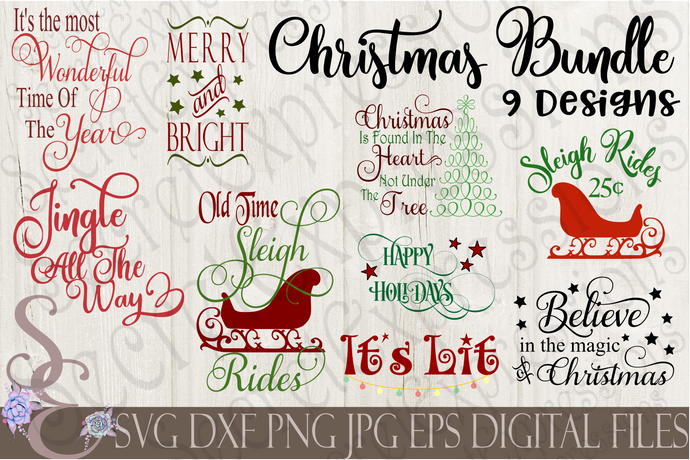 Christmas SVG Bundle, 9 Digital File, SVG, DXF, EPS, Png, Jpg, Cricut, Silhouette, Print File