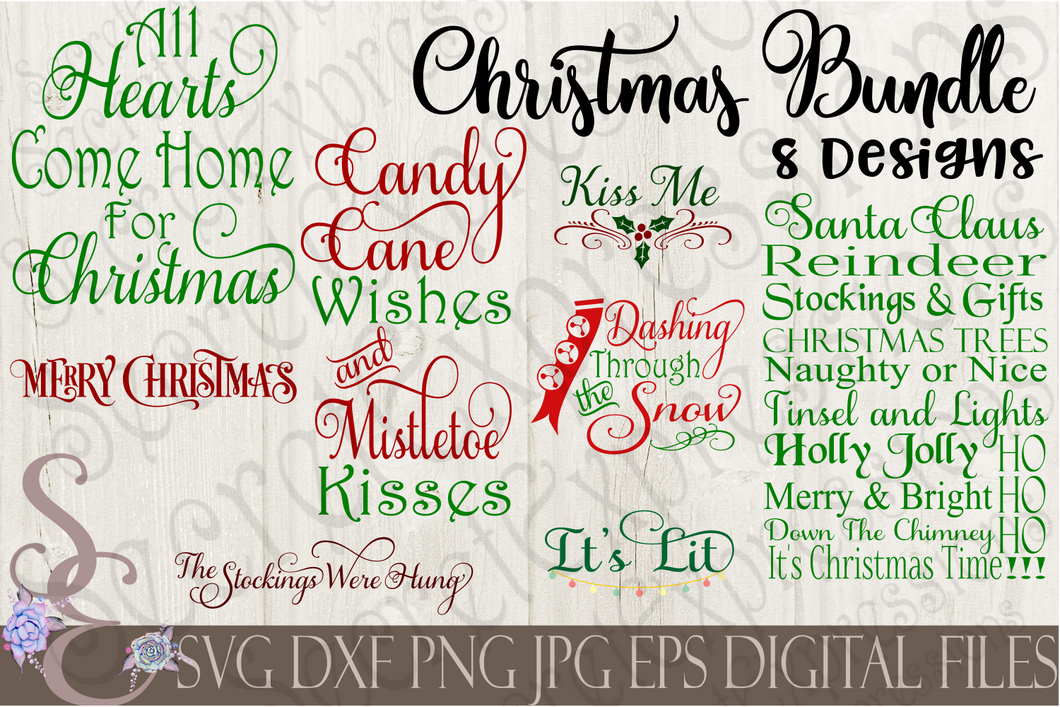Christmas Bundle SVG, 8 Digital File, SVG, DXF, EPS, Png, Jpg, Cricut, Silhouette, Print File