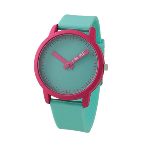2-Color Fun Phrase Minute Hand Sunray Dial Silicone Band Watch