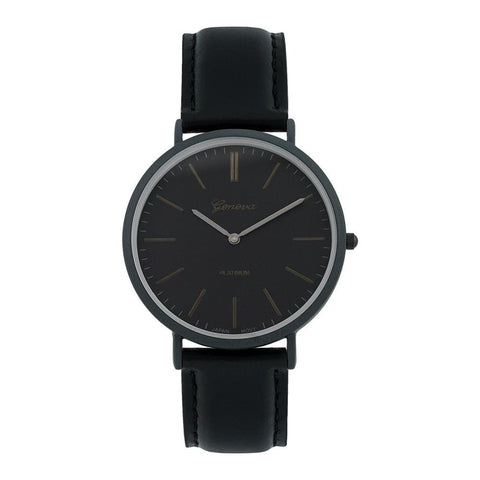 Black Leather Band Watch Sunray Dial Double Noon Hour Tick Mark