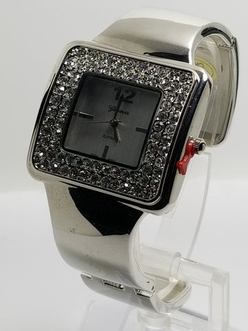 Silver Rectangular Bangle Watch Rhinestones Hinged Cufff - Wrist Stylist