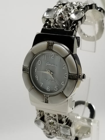 Silver Bangle Watch Segmented Bezel & Jewels - Wrist Stylist