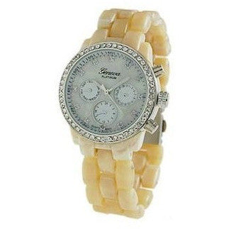 Geneva Platinum 3362 Women's Rhinestone Decorative Chronograph Link Watch-ivory/sil - Wrist Stylist
