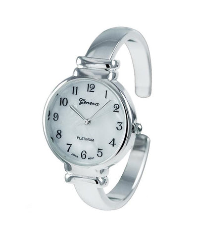 Geneva Platinum Round Face Polished Metal Watch Mother of Pearl Dial - Wrist Stylist