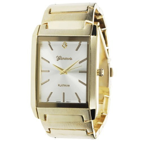 Geneva Platinum Men's Rectanglular Sunray Dial Polished Metal Link Band Watch - Wrist Stylist
