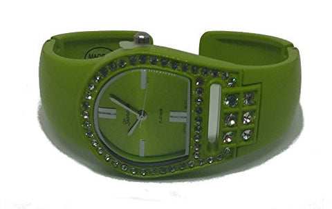 Women's Green Plastic Rhinestone Geneva Platinum Bangle Watch - Wrist Stylist