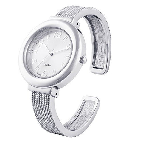 Silver Geneva Platinum Bangle Watch Mesh Band - Wrist Stylist