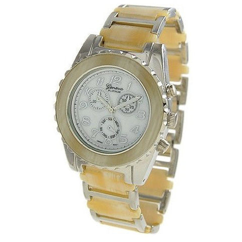 Geneva Platinum 9144 Women's Chronograph-style HORN-SIL Link Watch
