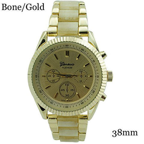 Geneva Platinum Fluted Bezel Turtle Shell Watch 38mm Bone/Gold w/Box - Wrist Stylist