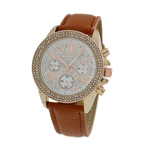 Crystal Studded Roman Numberal Face Leather Band Watch