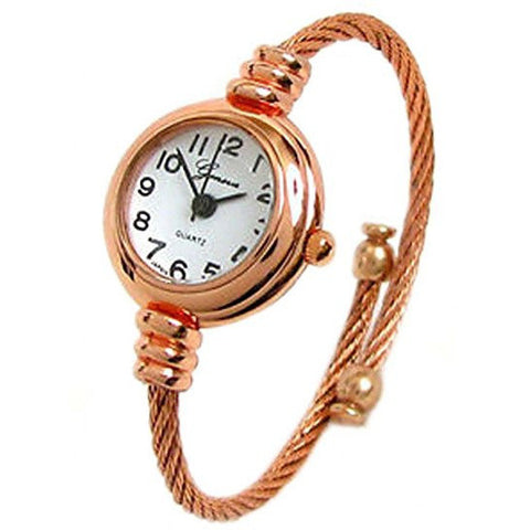 New Geneva Cable Band Rose Gold Accent Women's Small Size Bangle Watch-Rose Gold - Wrist Stylist
