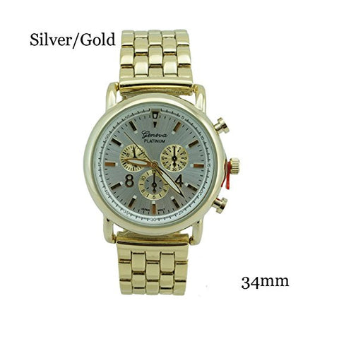 Geneva Platinum Nice Chrono Style Bracelet Watch 34mm Silver/Gold w/Box - Wrist Stylist