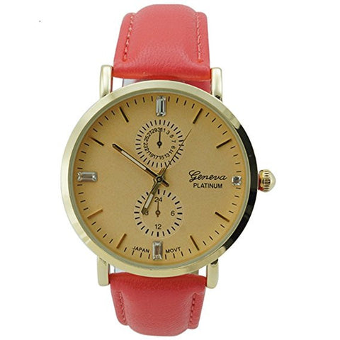Geneva Platinum Ladies Coral Leather Watch Gold Dial with Baguette CZ Accents
