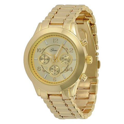 Geneva Platinum Men's Brushed Finish Link Watch-Gold - Wrist Stylist