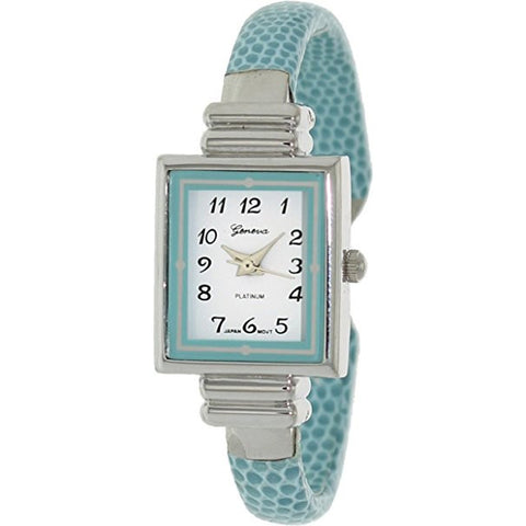 Geneva Platinum Women's 8519.Aqua Aqua Leather Quartz Watch - Wrist Stylist