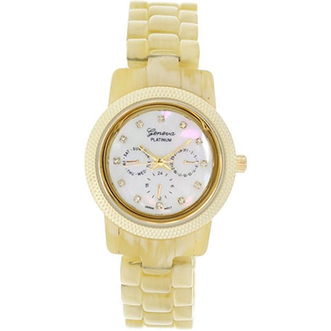 Geneva Platinum Women's 9249.Bone.Gold Beige Ceramic Quartz Watch with White Dial - Wrist Stylist
