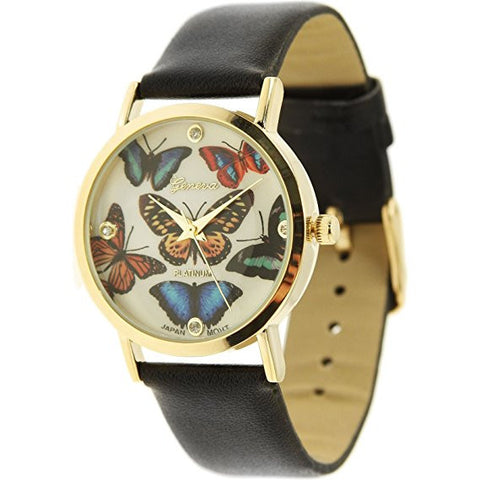 GENEVA PLATINUM Faux Leather Butterfly Print Watch