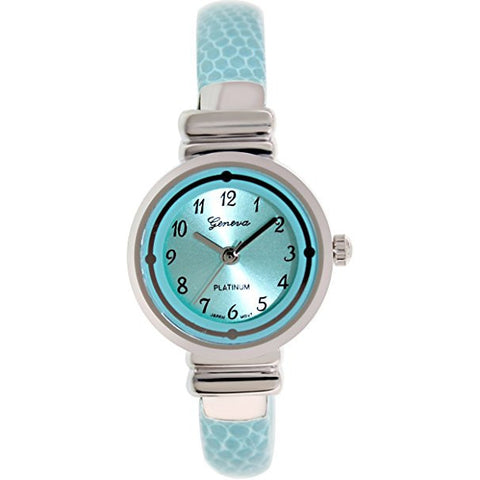 Geneva Platinum Women's 7185.AQUA.SILVER Aqua Metal Quartz Watch - Wrist Stylist