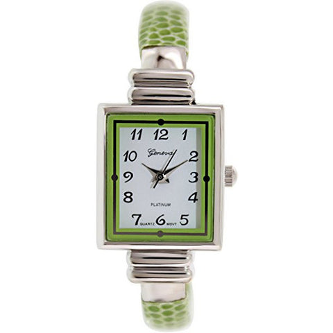 Geneva Platinum Women's 8519.LIMEGREEN.SILVER Green Metal Quartz Watch - Wrist Stylist