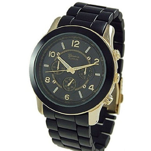 Geneva Platinum 9158 Women's Decorative Chronograph-style Matte Finish Link Watch -BLK/GOLD - Wrist Stylist