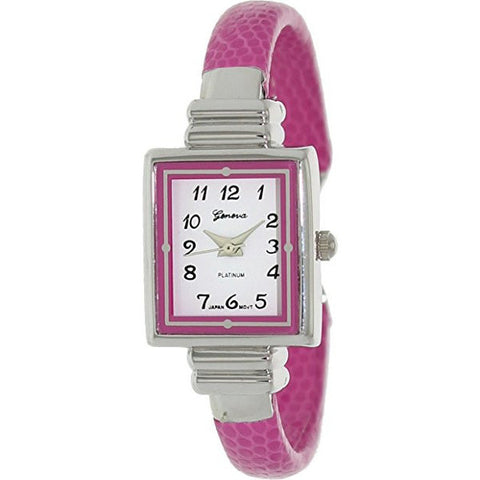 Geneva Platinum Women's 8519.HotPink Pink Leather Quartz Watch - Wrist Stylist