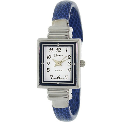 Geneva Platinum Women's 8519.Blue Blue Leather Quartz Watch with White Dial - Wrist Stylist