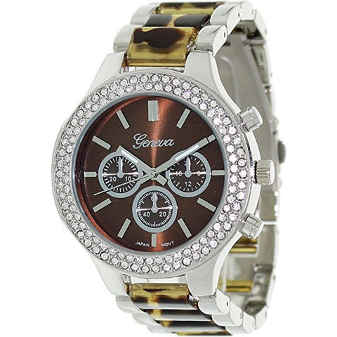 Geneva Platinum Women's 2696.Tortoise.Silver Two-Tone Stainless-Steel Quartz Watch with Brown Dial