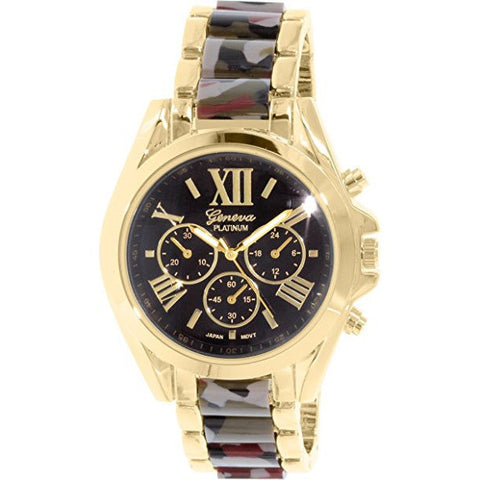 Geneva Platinum Women's 9380.CAMO.GOLD Multi Metal Quartz Watch - Wrist Stylist
