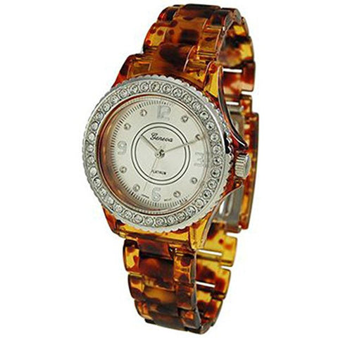 Geneva Platinum Women's 2112.Brown.Silver White Plastic Quartz Watch - Wrist Stylist
