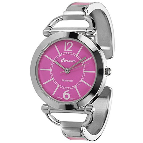 Geneva Platinum Women's Color Block Cuff Watch Color: Pink - Wrist Stylist