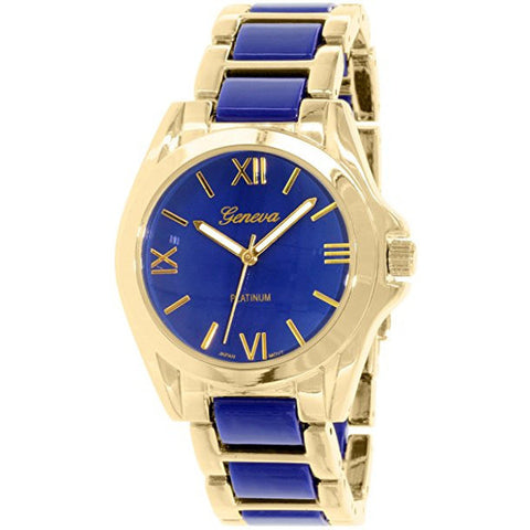 Geneva Platinum Women's 4893.NAVY.GOLD Blue Metal Quartz Watch - Wrist Stylist