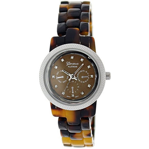 Geneva Platinum Women's 9249.Tortoise.Silver Brown Ceramic Quartz Watch with Brown Dial - Wrist Stylist
