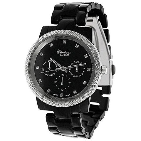 Geneva Platinum 6843 Women's Black Japanese Quartz Czech Rhinestone Chronograph-Style Watch - Wrist Stylist