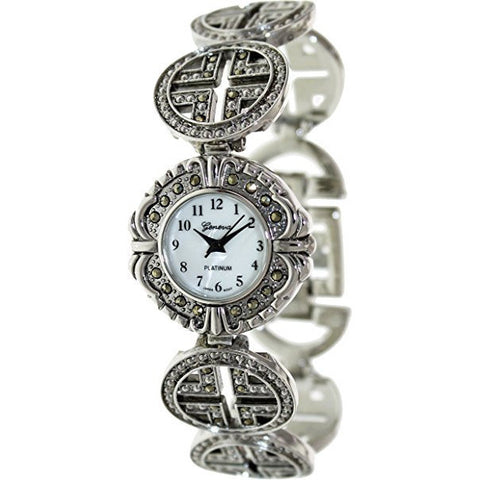 Geneva Platinum Women's 7497.MARCASITE Silver Metal Quartz Watch with Mother-Of-Pearl Dial - Wrist Stylist