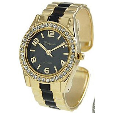 Geneva Platinum Women's 3238.Gold.Black Gold Stainless-Steel Quartz Watch with Black Dial - Wrist Stylist