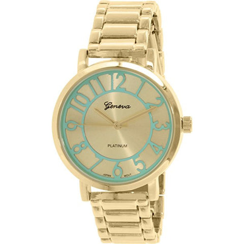 Geneva Platinum Women's 1438.GOLD.MINTGREEN Gold Metal Quartz Watch - Wrist Stylist