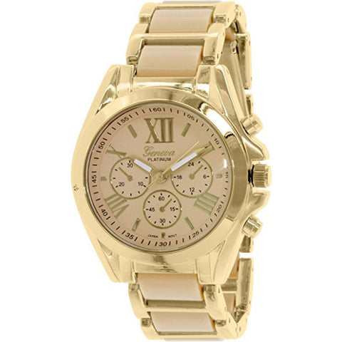 Geneva Platinum Women's 4764.GOLD.BONE Peach Metal Quartz Watch - Wrist Stylist