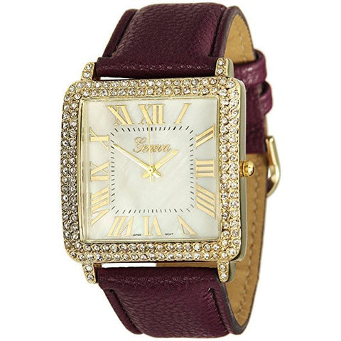 GENEVA PLATINUM Pebbled Faux Leather Gold Tone Square Faced Crystal Bezel Watch(Purple)