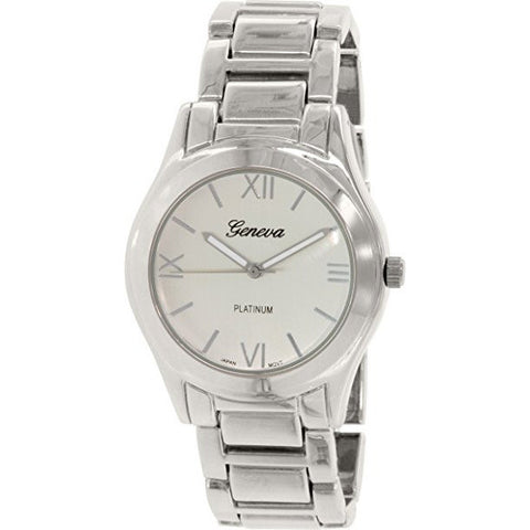 Geneva Platinum Women's 4894.SILVER.SILVER Silver Metal Quartz Watch - Wrist Stylist