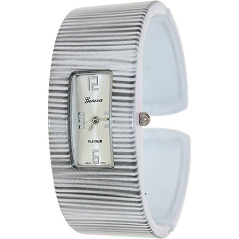 Geneva Platinum Women's 6904.WHITE.BLACKSTRIPE White Metal Quartz Watch - Wrist Stylist