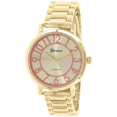 Geneva Platinum Women's 1438.GOLD.PEACH Gold Metal Quartz Watch - Wrist Stylist