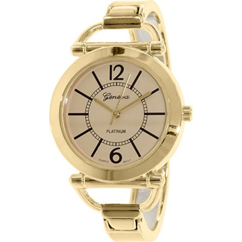 Geneva Platinum Women's 2732.TAN.GOLD Gold Metal Analog Quartz Watch - Wrist Stylist