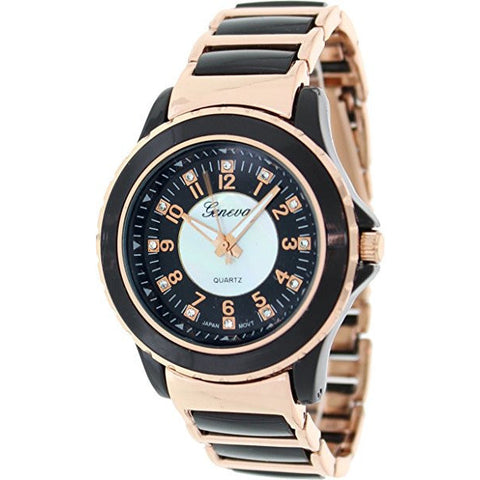 Geneva Platinum Women's 3374.Black.RoseGold Black Ceramic Quartz Watch - Wrist Stylist