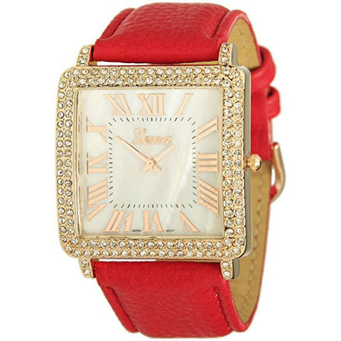 GENEVA PLATINUM Pebbled Faux Leather Rose Gold Tone Square Faced Crystal Bezel Watch Red