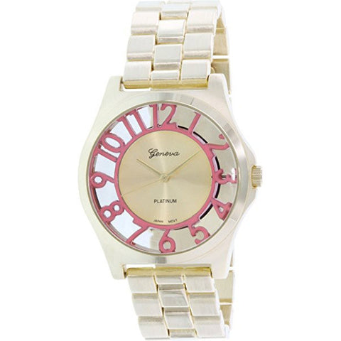 Geneva Platinum Women's 9446.GOLD.CORAL Gold Metal Quartz Watch - Wrist Stylist
