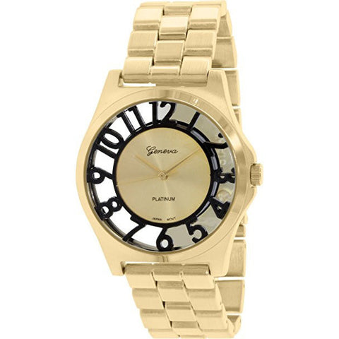 Geneva Platinum Women's 9446.GOLD.BLACK Gold Metal Quartz Watch - Wrist Stylist