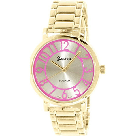 Geneva Platinum Women's 1438.GOLD.PINK Gold Metal Quartz Watch - Wrist Stylist
