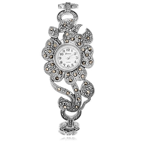 Genva Women's Platinum Marcasite Flower Watch - Wrist Stylist